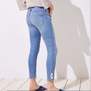 Ann Taylor Loft Modern Lace Up Skinny Jeans Size 2